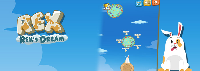 Help Rex to collect as many bones as possible and reach the Paradise of Gluttony!