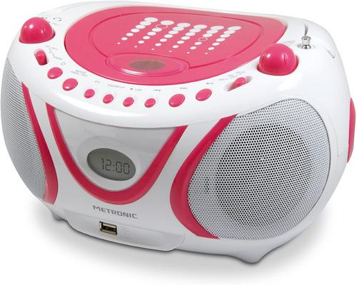 un Lecteur Cd Metronic 477109 Radio / Cd / Mp3 Pop Pink Avec Port Usb