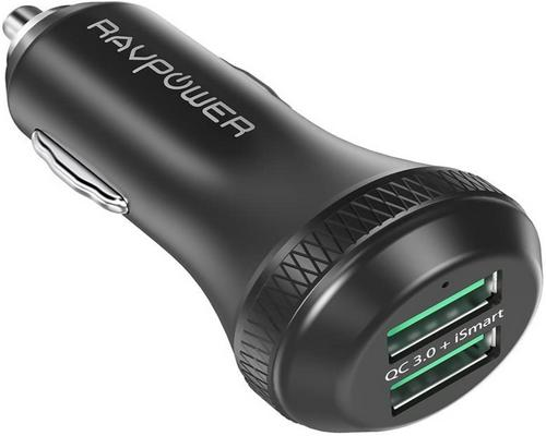 un Chargeur Ravpower Quick Charge 3.0 Voiture 40W 2-Port Usb Allume Cigare