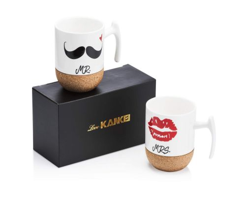 Des Tasses à Cafe Mr Mrs En Porcelaine