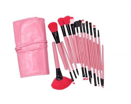 un Kit Maquillage de 24 Brush avec Sac en Faux Cuir Rose