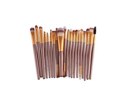 a Set of 20 Brush Brushes for Gold Color Makeup