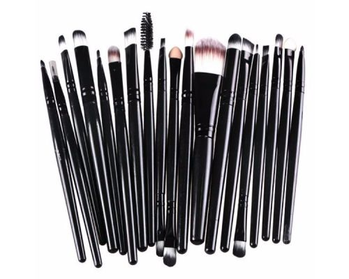 a Set of 20 Brush Brushes for Makeup Black Color