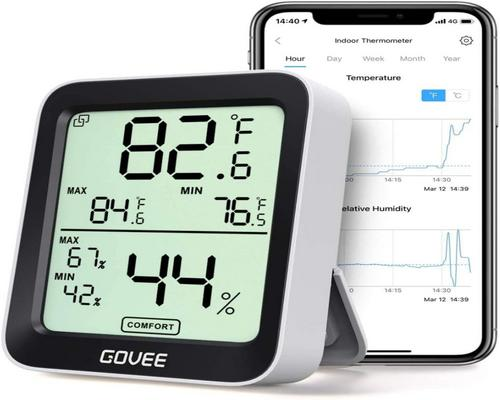 A Govee Indoor Thermometer Small Monitor Mini Digital High Accuracy Sensor Humidity Temperature
