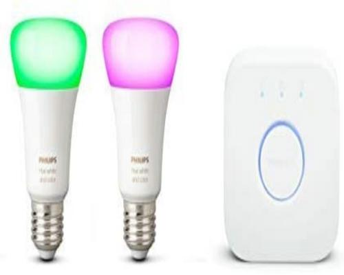 a Philips Hue Starter Kit 2 Connected White & Color Ambiance E27 + Verbindungsbrücke