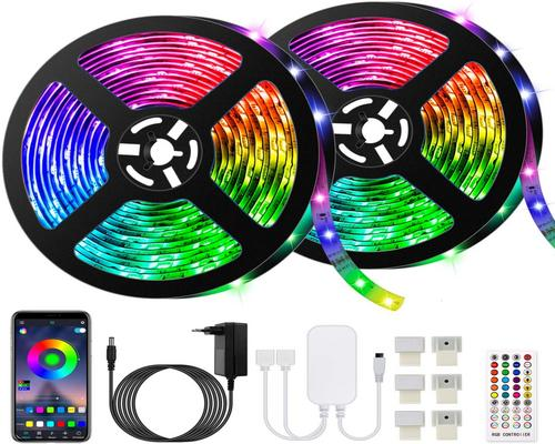 En blå Led Strip, 10M Led Strip 300 Leds 5050 Rgb Vandtæt, styret af Smartphone App