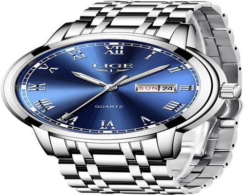 A Lige Watch Men Fashion Edelstahl Wasserdichter Quarz Analog Men With Business Dress