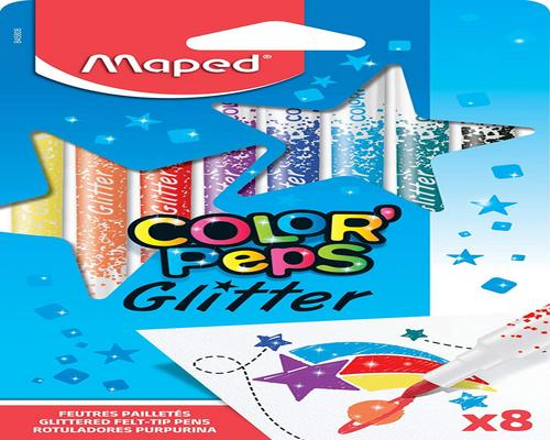 et Maped Color'Peps Markers Kit fra Glitter Ink Glitter Coloring til børn med metallisk effekt