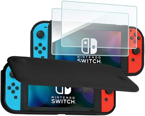 a Set Of Accessory Procase Nintendo Switch Flip Cover With 2 Pack Tempered Glass Screen Protectors, Slim Protective Flip Case With Magnetically Detachable Front Cover Fo