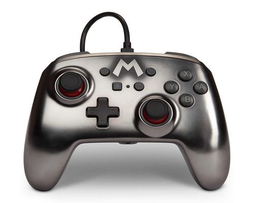 a Set Of Accessory Powera Enhanced Wired Controller For Nintendo Switch - Mario Silver - Nintendo Switch