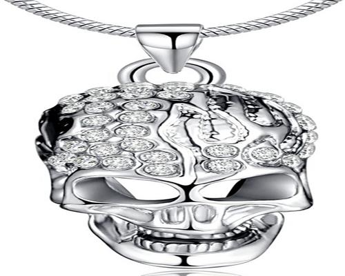 a Silver Plated Austrian Crystal Skull Infinite U Necklace