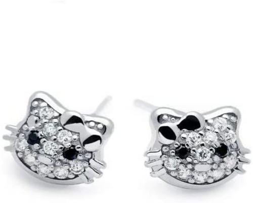 <notranslate>A Pair Of Baobei Hello Kitty Cat Earrings For Women Sterling Silver Cute Cat Love Gift For Women Girls Kids With Box</notranslate