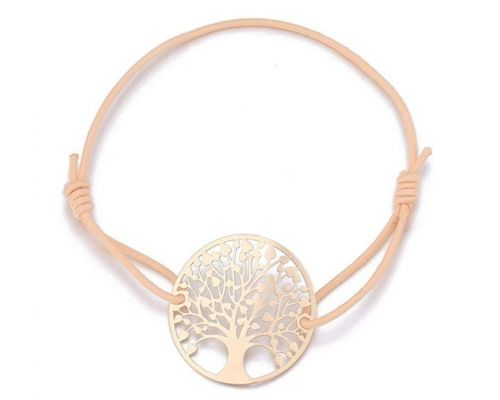 A Rose Gold Cord Bracelet Tree of Life