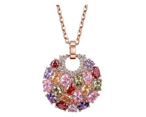 A Round Multicolored Stones Pendant Necklace