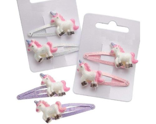 A Set of 2 Unicorn Glitter Barrettes