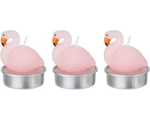Un Set de 3 Bougies Flamant Rose