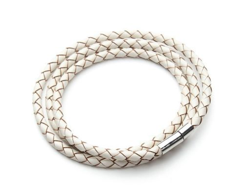 a White Braided Leather GS Bracelet