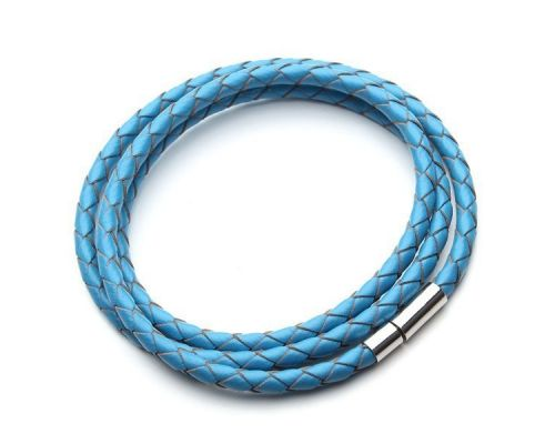 a Blue Braided Leather GS Bracelet