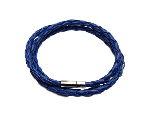 a Dark Blue Braided Leather GS Bracelet